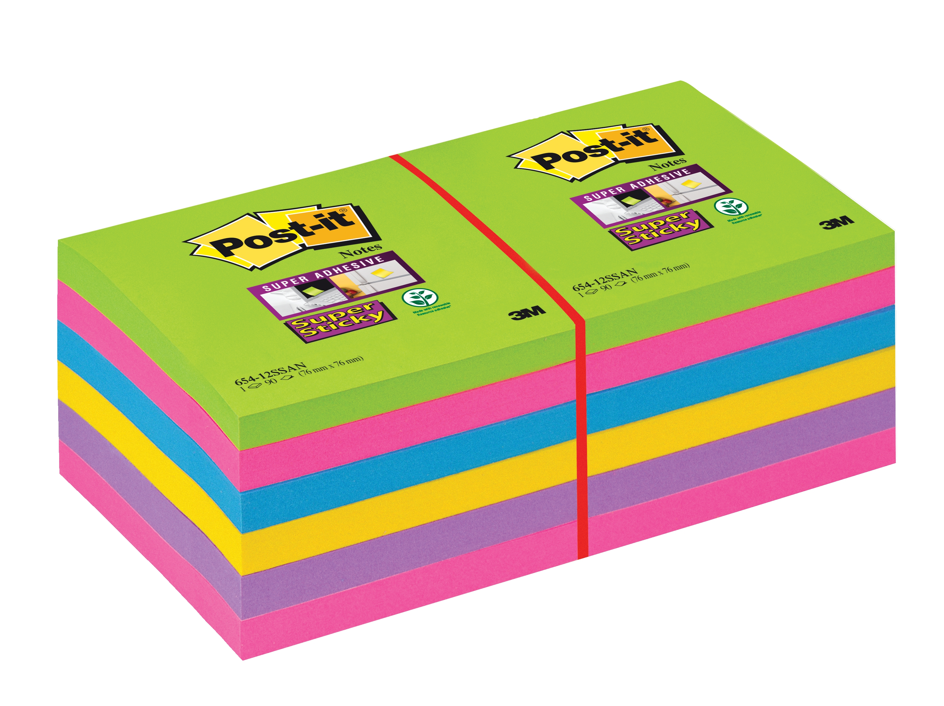 Post-it Super Sticky Removable Notes Pad 90 Sheets 76x76mm Ultra Assorted Ref 654-12SSUC [Pack 12]