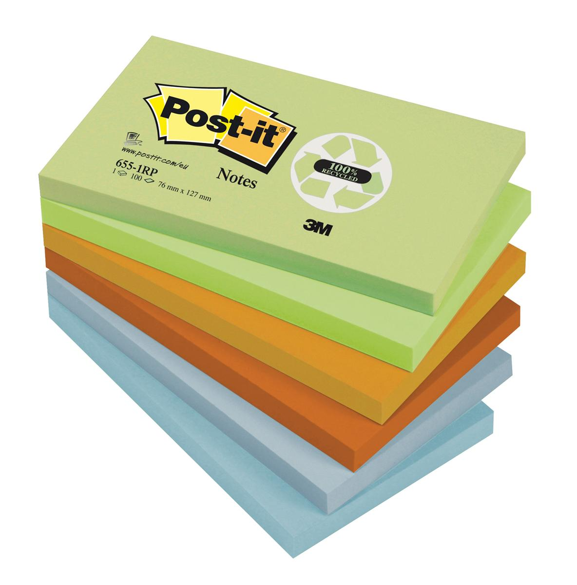 Post-it Notes Recycled 100 Sheets per Pad 76x127mm Pastel Rainbow Ref 655-1RP [Pack 12]