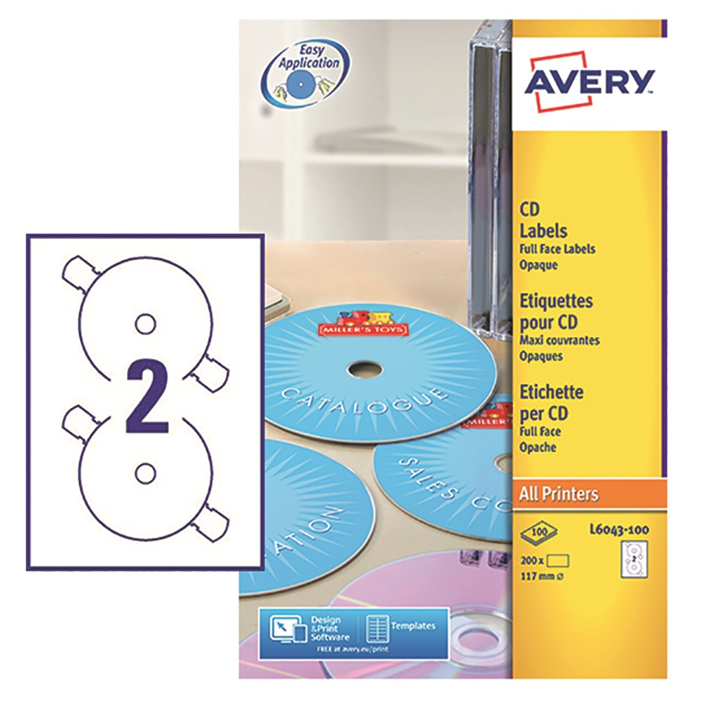 Image for Avery CD/DVD Labels Laser 2 per Sheet Dia.117mm Classic Size Black and White Ref L6043-100 [200 Labels]