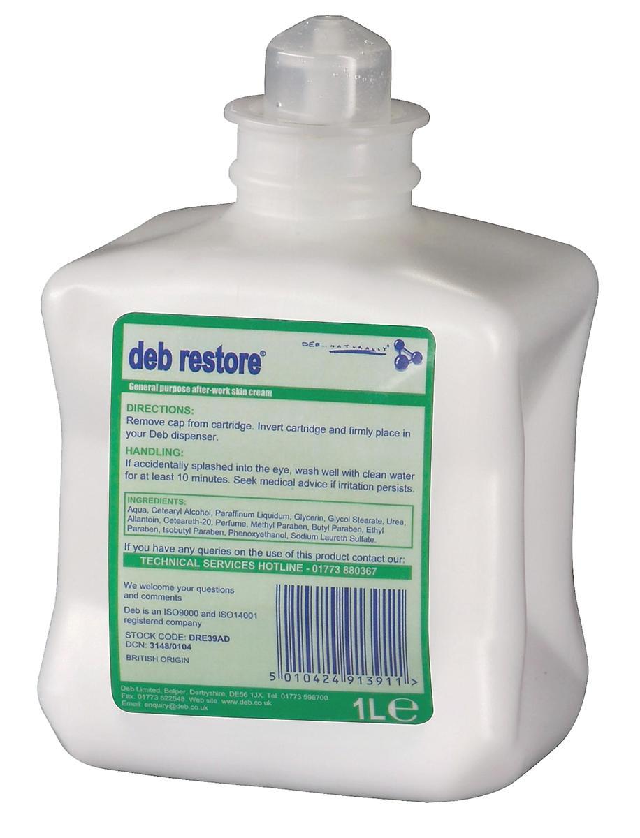 DEB Restore After Work Hand Cream Refill Cartridge 1 Litre Ref RES1L