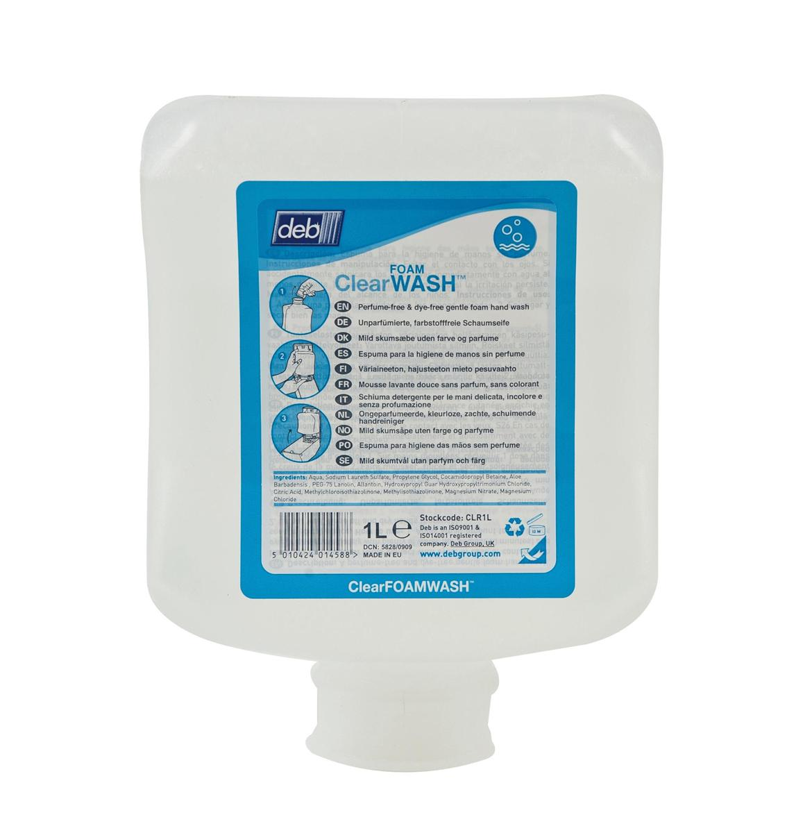 DEB Clear Foaming Hand Soap Refill Cartridge 1 Litre Ref N03869