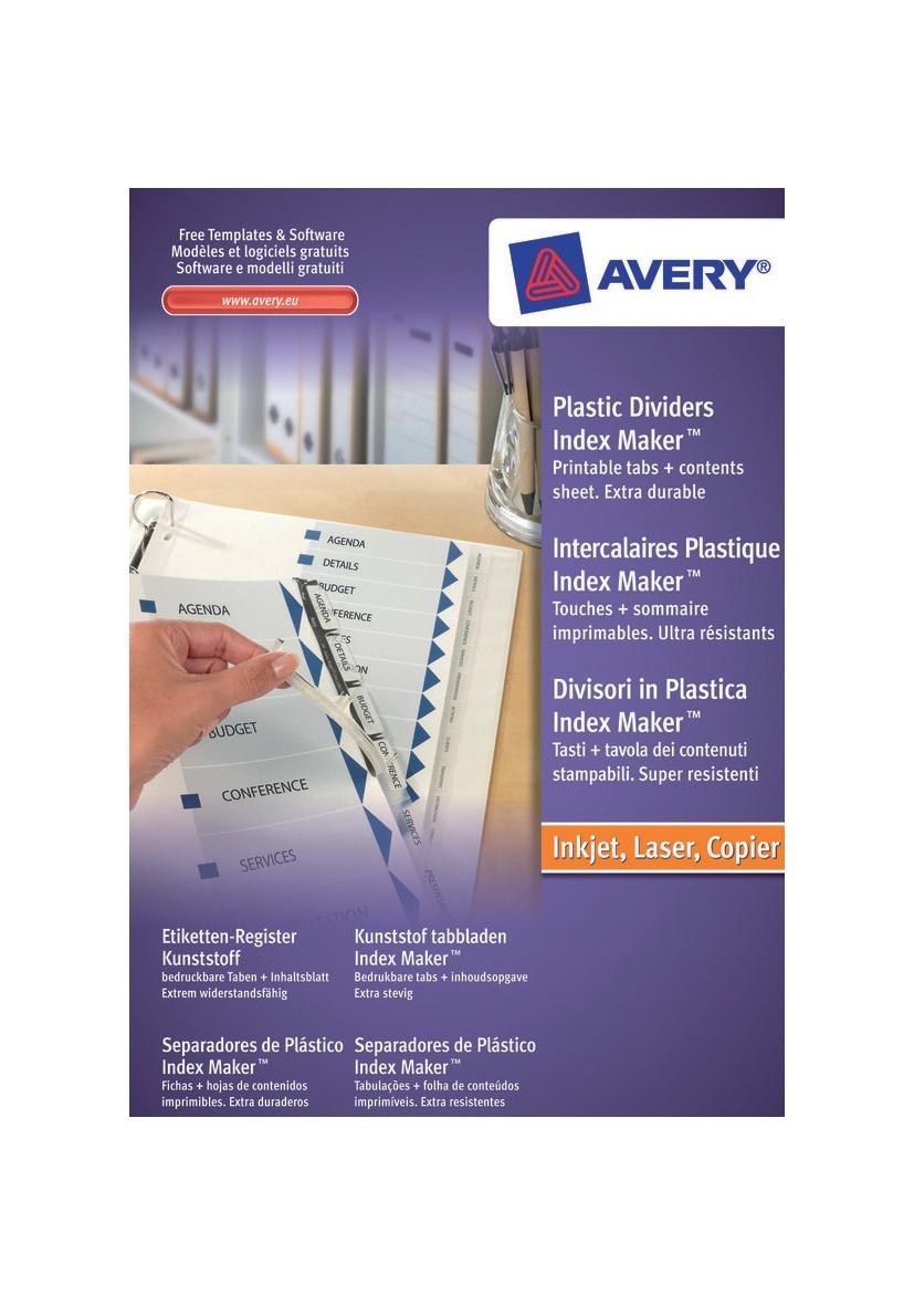 Avery IndexMaker Divider Set Polypropylene A4 5-Part Clear Ref 05111081 L7410-5M