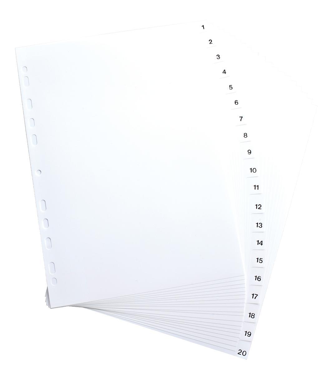 Elba Polypropylene Index Europunched A4 1-20 White Ref 100204786