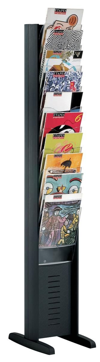 Image for Fast Paper Display Floorstanding 10 Compartment Black Ref 278N.01