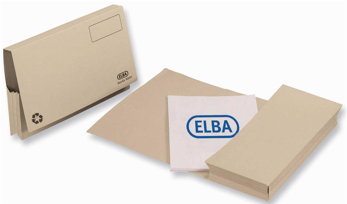 Elba Probate Wallets Full Flap Heavyweight Manilla 285gsm 65mm Foolscap Buff Ref 100090049 [Pack 25]