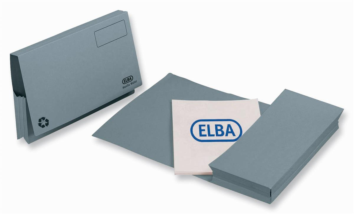 Elba Probate Wallets Full Flap Heavyweight Manilla 285gsm 65mm Foolscap Blue Ref 100090048 [Pack 25]