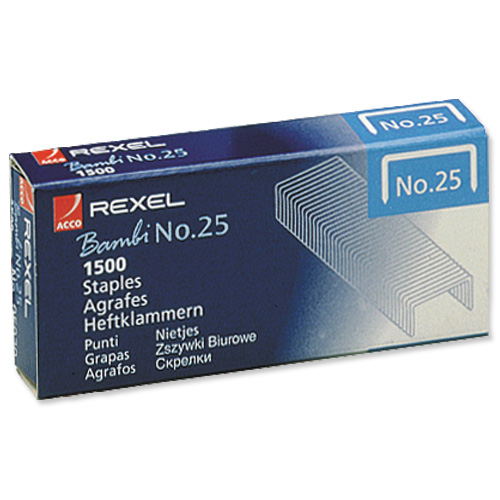 Rexel No. 25 Staples 4mm Box of 1500 Ref 05020 [Pack 20]