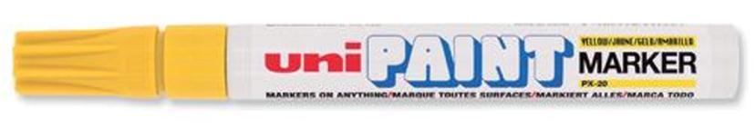 uni Paint Marker Bullet Tip Medium Point Px20 Line Width 2.2-2.8mm Yellow Ref 545509000 [Pack 12]
