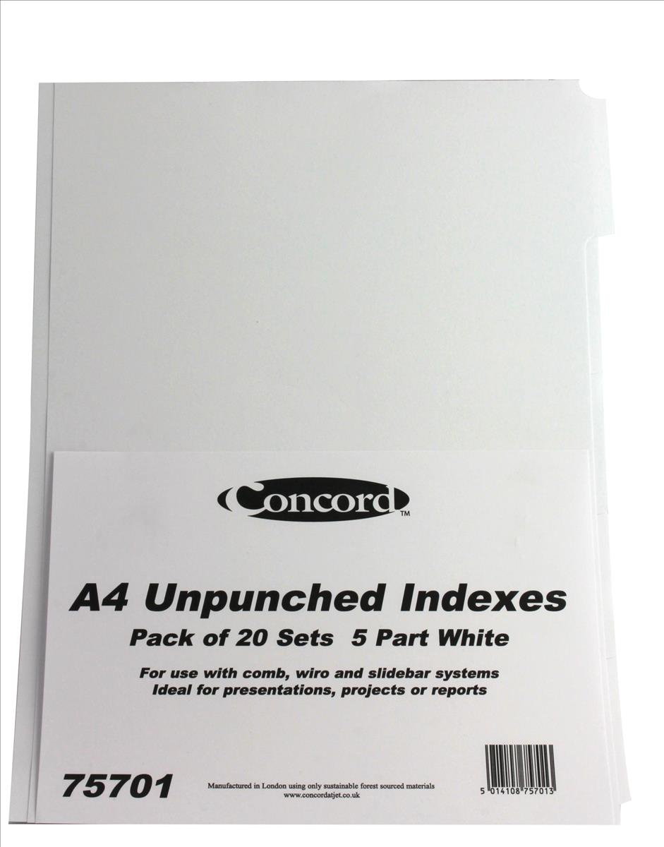 Concord Presentation Index Unpunched 5-Part A4 White Ref 75701 [Pack 20]
