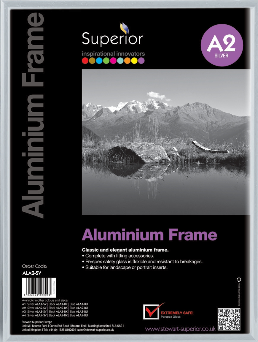 Photo Frame Clip In Aluminium with Clear Perspex Front A2