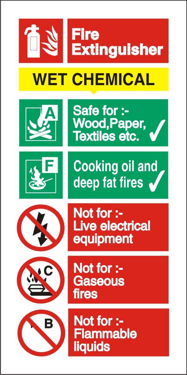 Stewart Superior Sign Wet Chemical Extinguisher Fire Safety Self Adhesive Vinyl W100xH200mm Ref FF100SAV