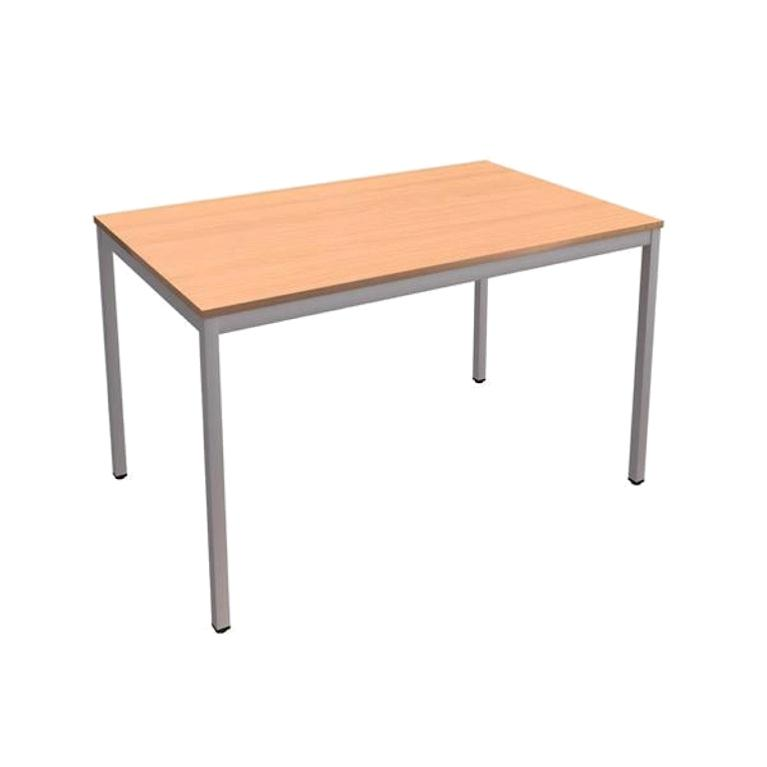 Trexus Rectangular Table with Silver Legs 18mm Top W1200xD750xH725mm Beech