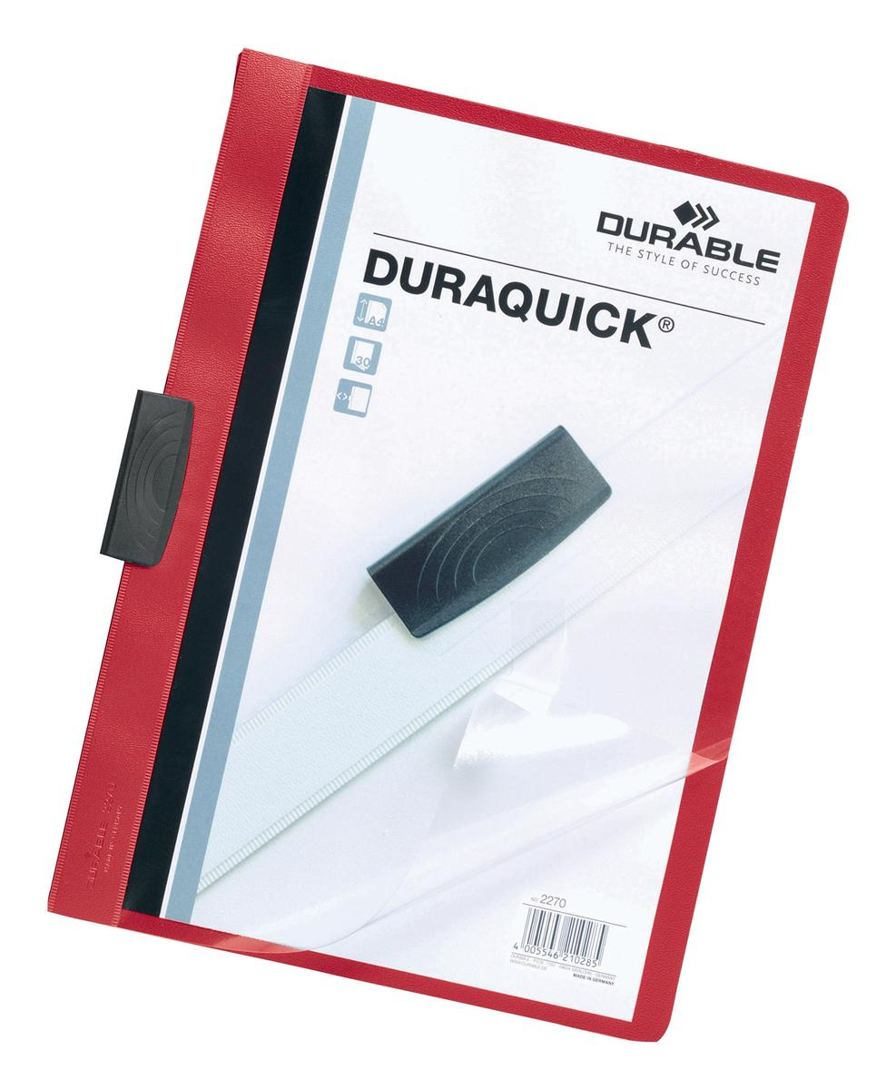 Durable Duraquick Clip Folder PVC Clear Front A4 Red Ref 2270/03 [Pack 20]