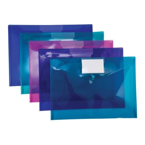 Concord Stud ID Wallet File Vibrant Polypropylene with Card Holder A4 Assorted Ref 7096-PFL [Pack 5]