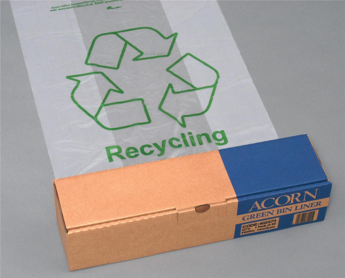 Acorn Green Bin Liners Capacity 60 Litres Clear and Printed Ref 402573 [Pack 50]