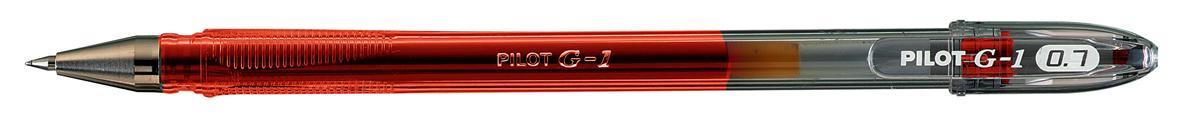 Pilot G107 Gel Ink Pen Ergonomic Grips 0.7mm Tip 0.5mm Line Red Ref BLG10702 [Pack 12]