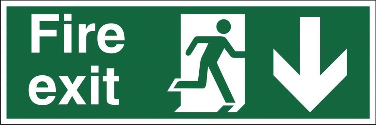 Stewart Superior Fire Exit Sign Man and Arrow Down 600x200mm Self-adhesive Vinyl Ref NS007