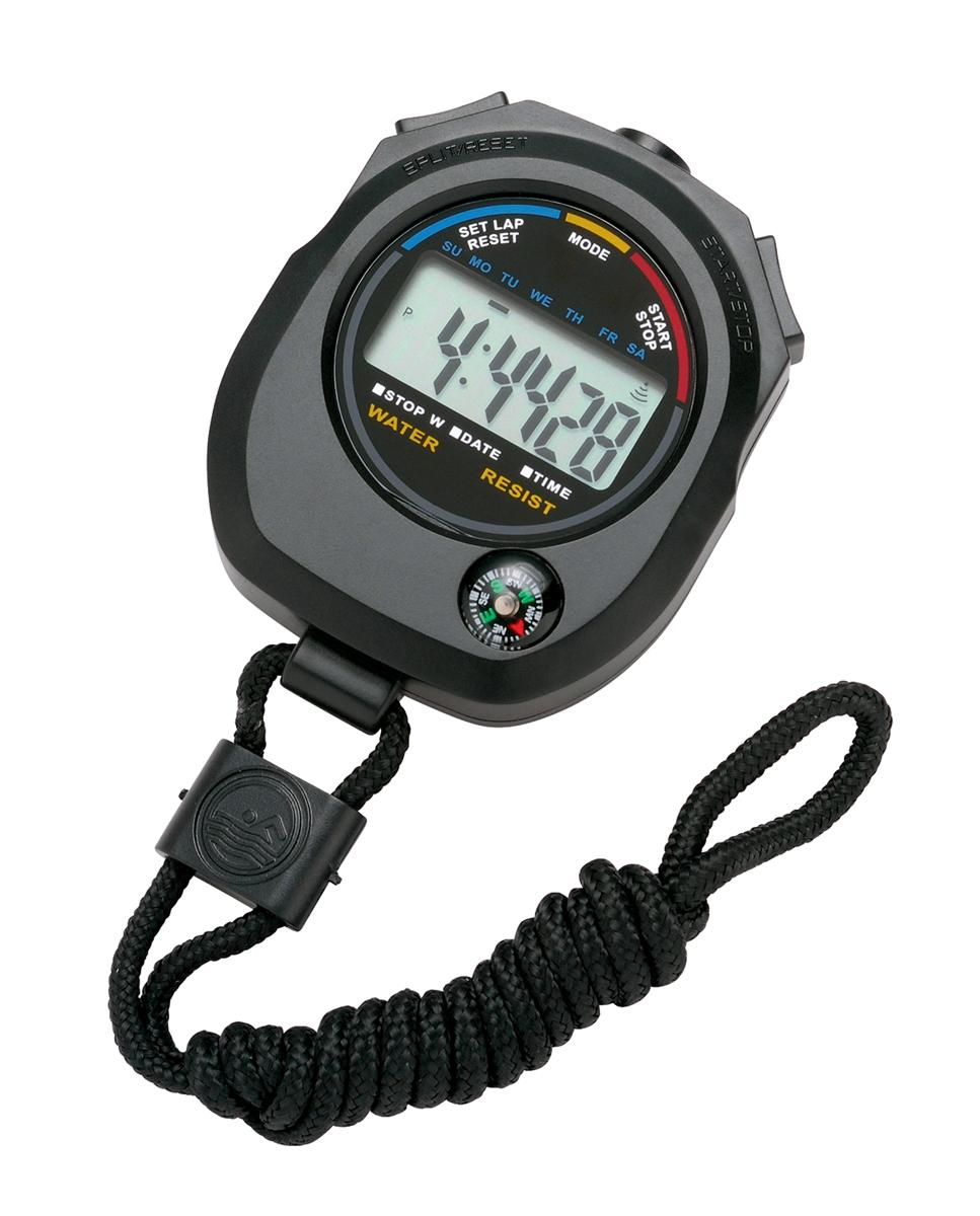 Stopwatch Water Resistant Battery Operated Black
