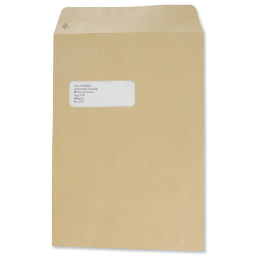 Basildon Bond Envelopes Pocket Peel and Seal Window 90gsm Manilla C4 Ref A80192 [Pack 250]
