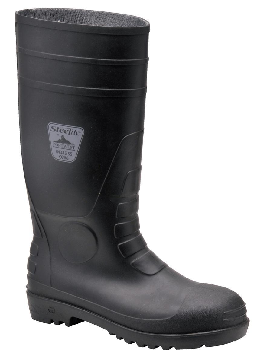 Steelite Safety Wellington Boots Steel Toecap Slip-resistant Nylon Lining Size 12 Black Ref FW95SIZE12