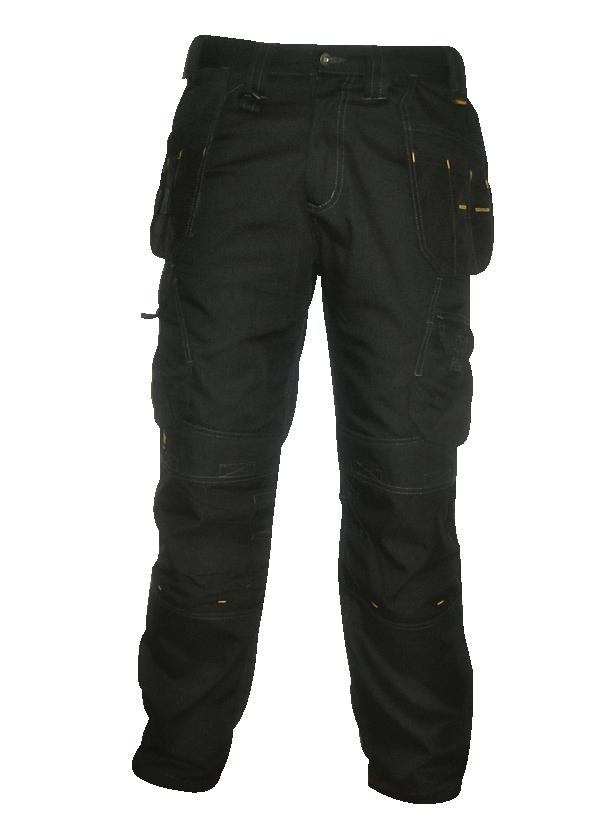Dewalt Pro-Tradesman Trousers Metal-zip Holster-pockets Waist 40in Leg 33in Black Ref 40W/33L