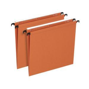 Bantex Linking Suspension File Manilla V-Base 15mm Capacity Foolscap Orange Ref 100330685 [Pack 25]