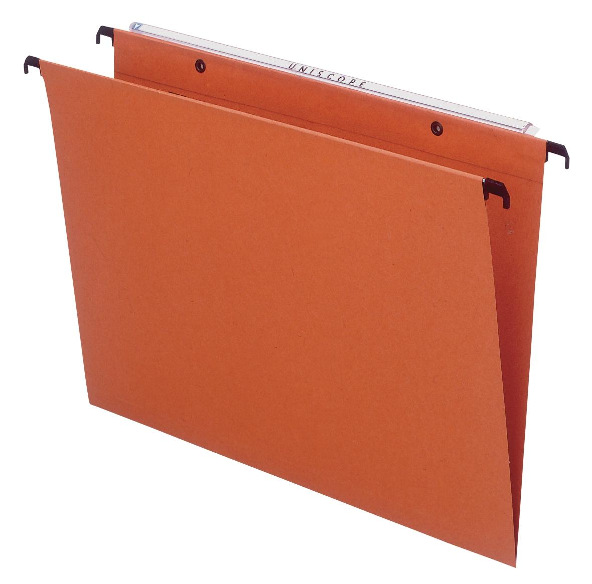 Bantex Linking Suspension File Manilla Square Base 30mm Capacity Foolscap Orange Ref 100330687 [Pack 25]