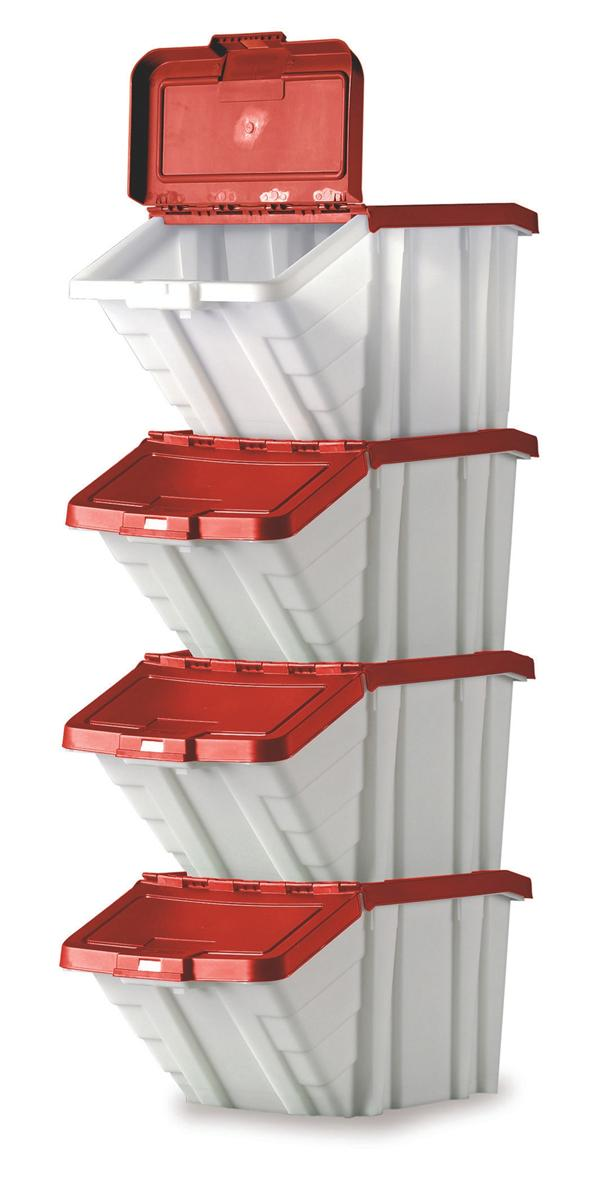 Image for Storage Container Bin 50L 30kg Load W390xD630xH340mm White and Red Lid [Pack 4]