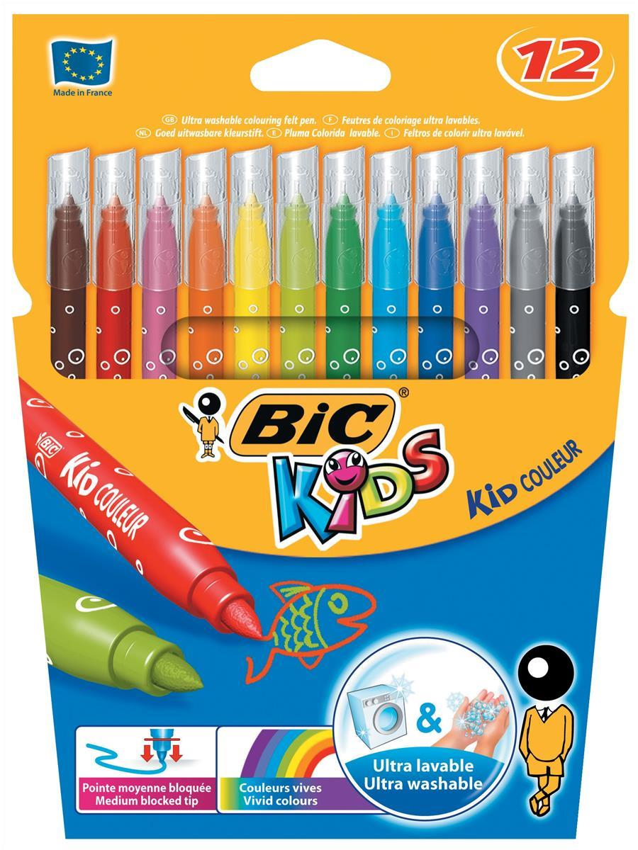 Bic Kids Couleur Felt Tip Pens Ultra-washable Water-based Medium Tip Assorted Ref 841798 [Pack 12]