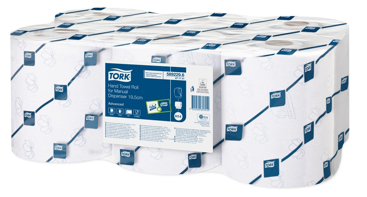 Tork Hand Towel For Manual Dispenser 640 Sheet Roll 160m Two-ply White Ref 471141 [Packed 6]