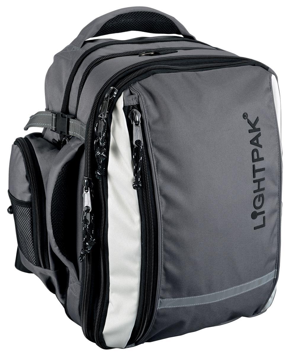 Lightpak Vantage Backpack with Detachable Laptop Bag Nylon Capacity 17in Grey Ref 46077