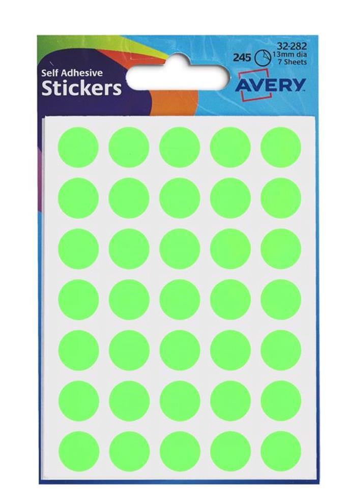 Avery Packets of Labels Diam.13mm Fluorescent Green Ref 32-282 [10x245 Labels]