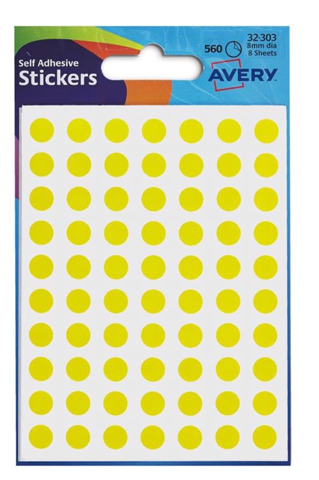 Avery Packets of Labels Diam.8mm Yellow Ref 32-303 [10x560 Labels]