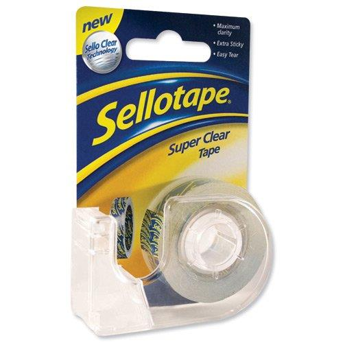 Sellotape Super Clear Tape Roll and Dispenser 18mmx15m Ref 1765966 [Pack 6]