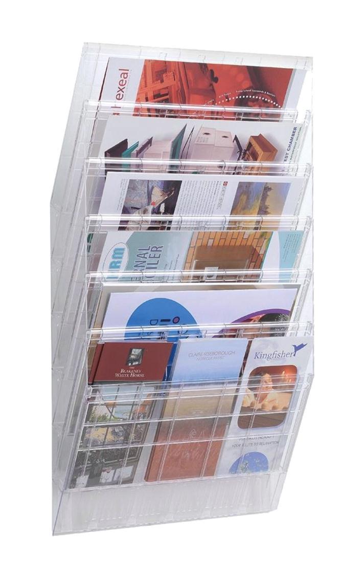 Durable Flexiboxx Literature Holder Wall Mountable 6 Pockets Landscape A4 Clear Ref 1709785400
