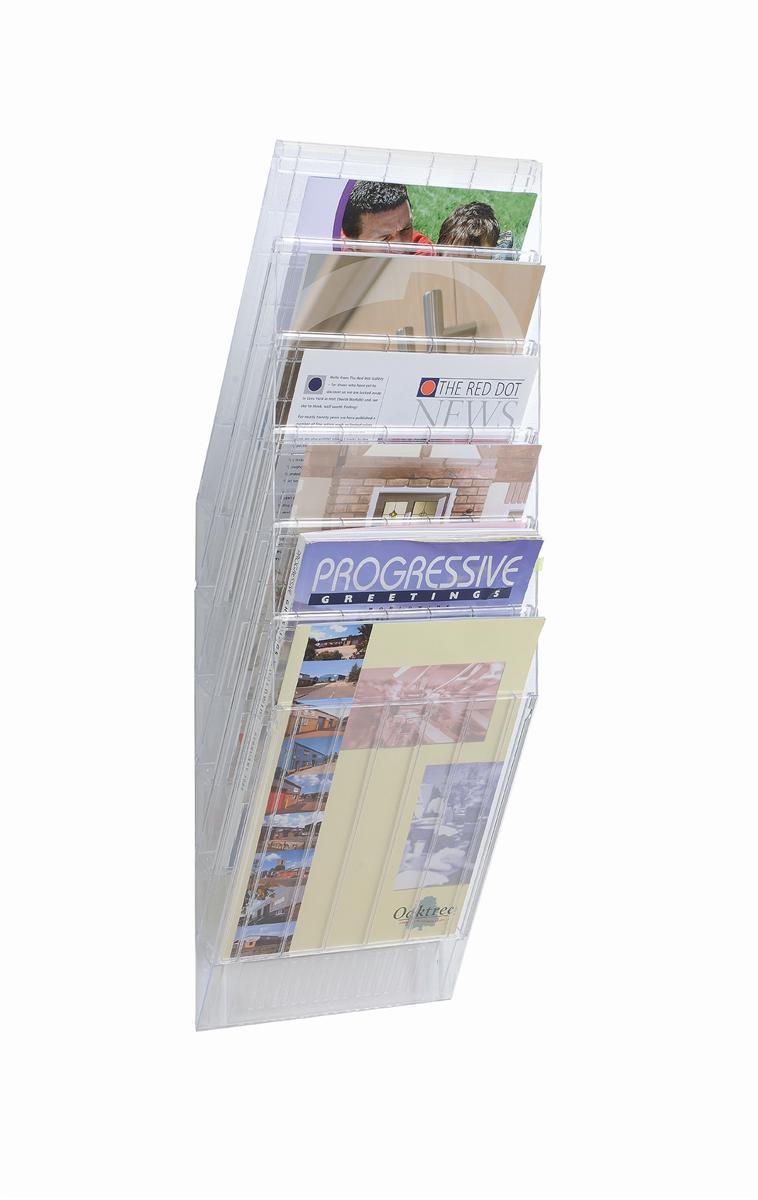 Durable Flexiboxx Literature Holder Wall Mountable 6 Pockets Portrait A4 Clear Ref 1709760400