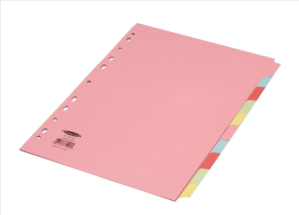 Concord Subject Dividers 160gsm 10-Part A4 5 Colours Ref 72099/J20 [Pack 25]