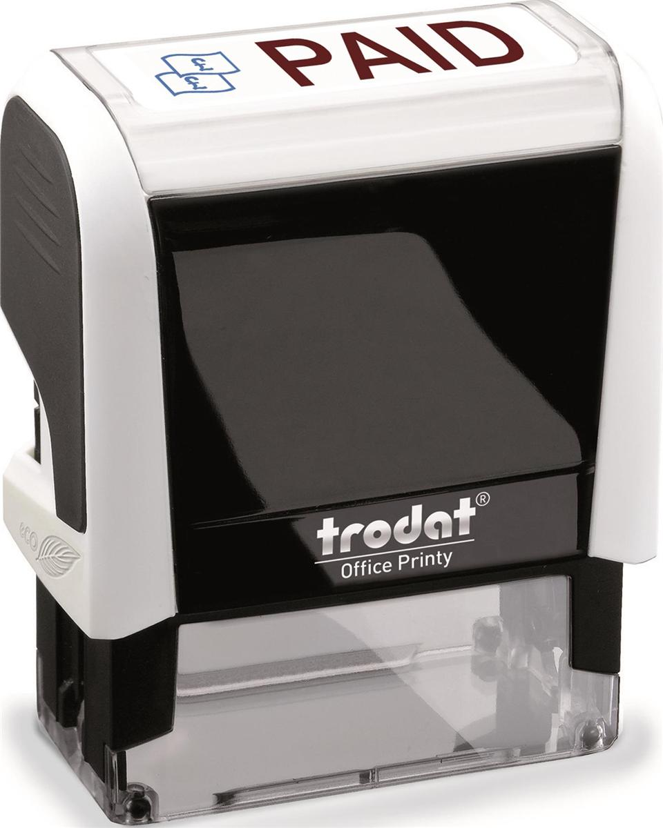Trodat Office Printy Stamp Self-inking Paid 18x46mm Reinkable Red and Blue Ref 43243