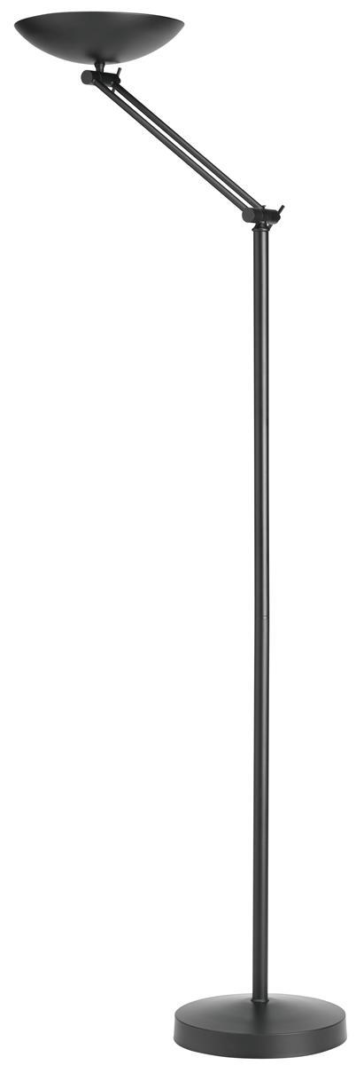 Unilux First Articulated Bowl Uplighter Halogen H1860mm Adjustable Arm Black Ref 100340571