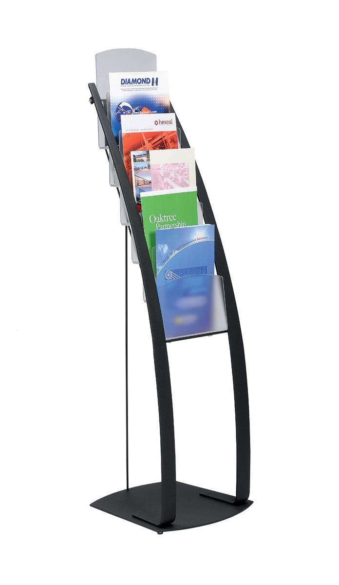 Literature Display Floor Stand 6 x A4 Pockets Black