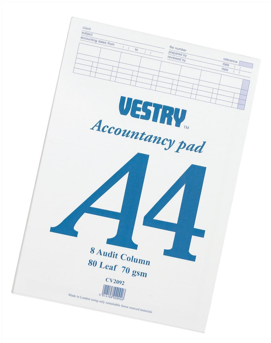 Vestry Accountants Pad 8 Audit Column 80 Leaf A4 Ref CV2092