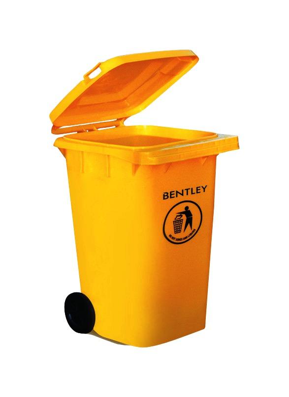 Wheelie Bin High Density Polythene with Rear Wheels 240 Litre Yellow