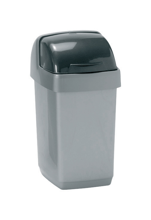 Addis Roll Top Bin Plastic 10 Litres Metallic Silver