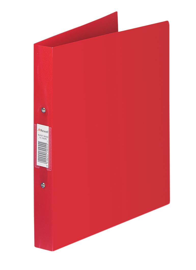 Rexel Budget Ring Binder Semi-rigid Polypropylene 2 O-Ring 25mm Size A4 Red Ref 13422RD [Pack 10]