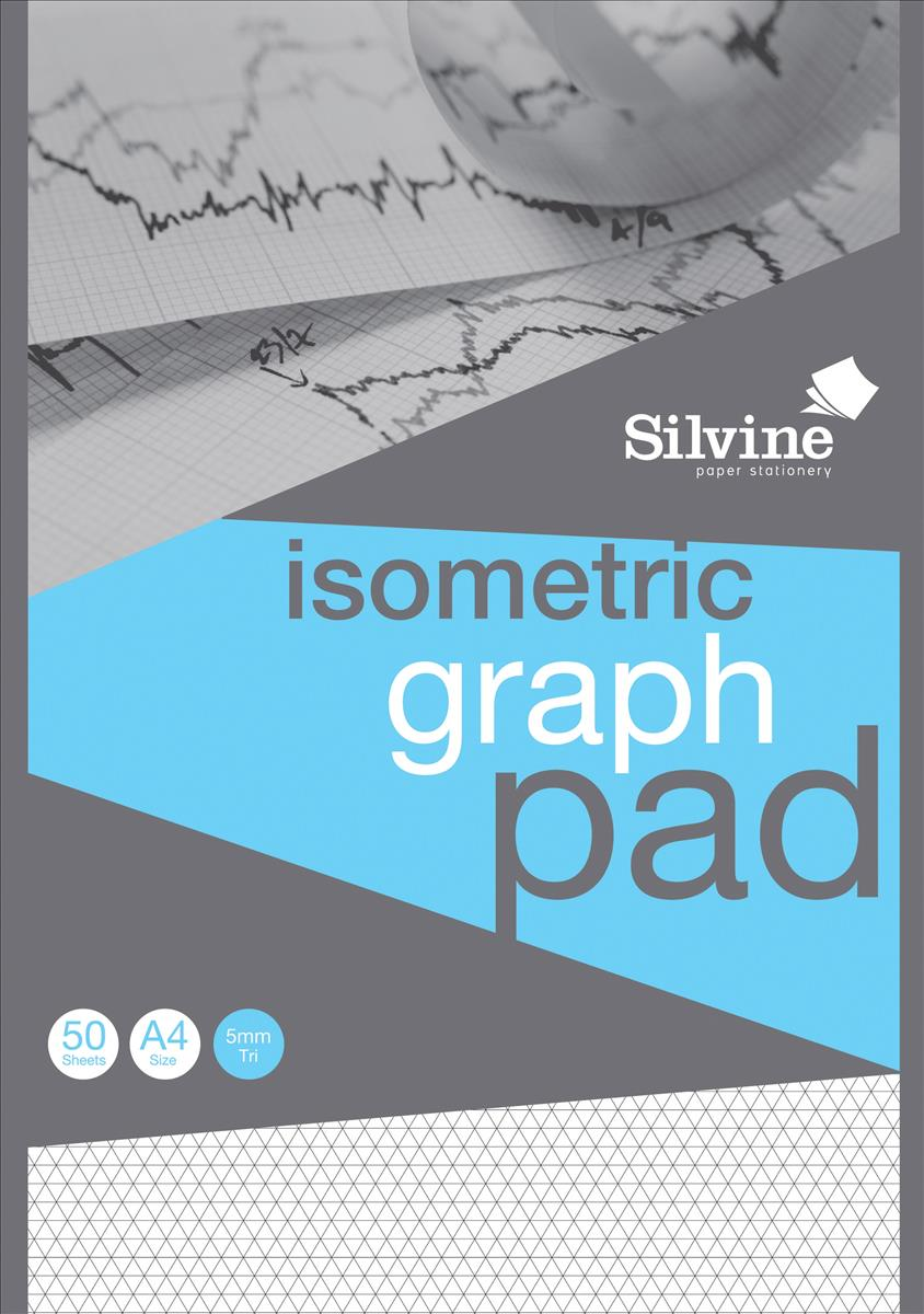 Silvine Student Graph Pad 90gsm 5mm Isometric 50 Sheets A4 Ref A4GPISO