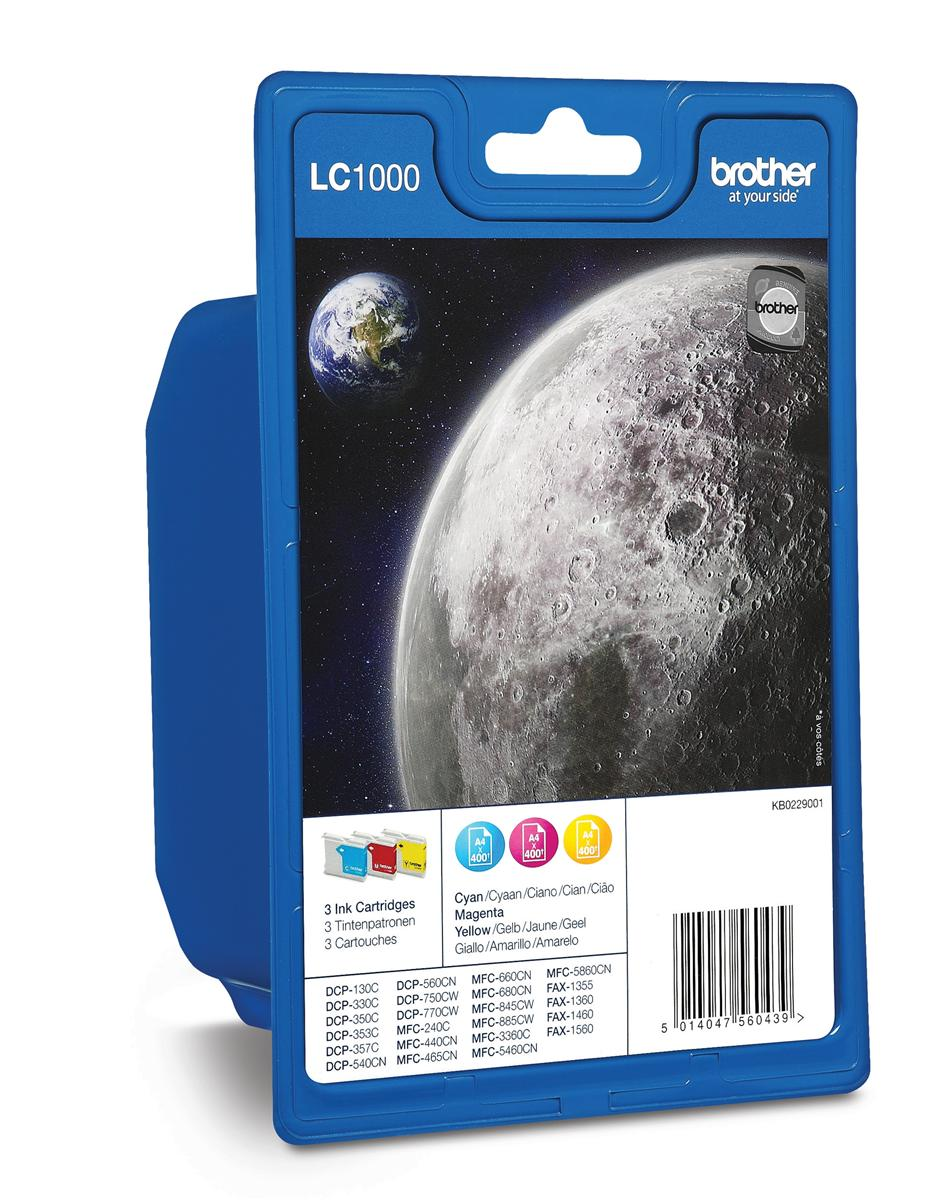 Brother Inkjet Cartridge Page Life 1200pp Cyan/Magenta/Yellow Ref LC1000RBWBP [Pack 3]