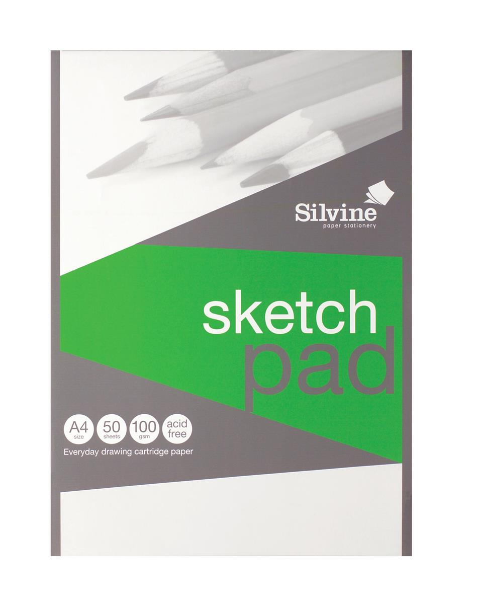 Silvine Popular Drawing Pad Acid Free Cartridge Paper 100gsm 50 Sheets A4