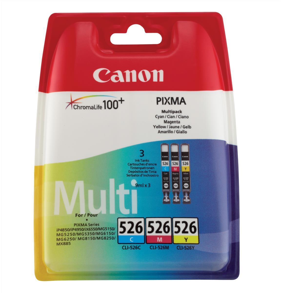 Canon CLI-526 Inkjet Cartridge Page Life 1349pp Cyan/Magenta/Yellow Ref 4541B006 [Pack 3]