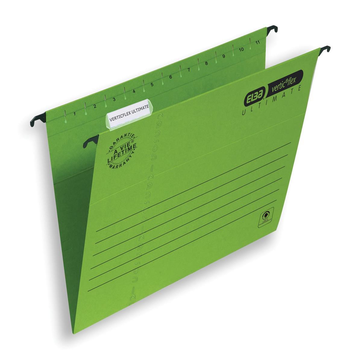 Elba Verticflex Ultimate Suspension File Manilla 240gsm A4 Green Ref 100331150 [Pack 25]
