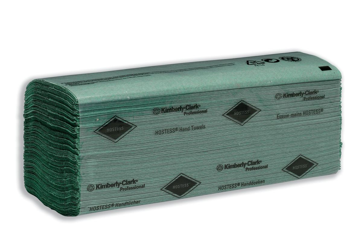 Hostess Hand Towels Single Ply 240x240mm 224 Towels per Sleeve Green Ref 6871 [Pack 24]